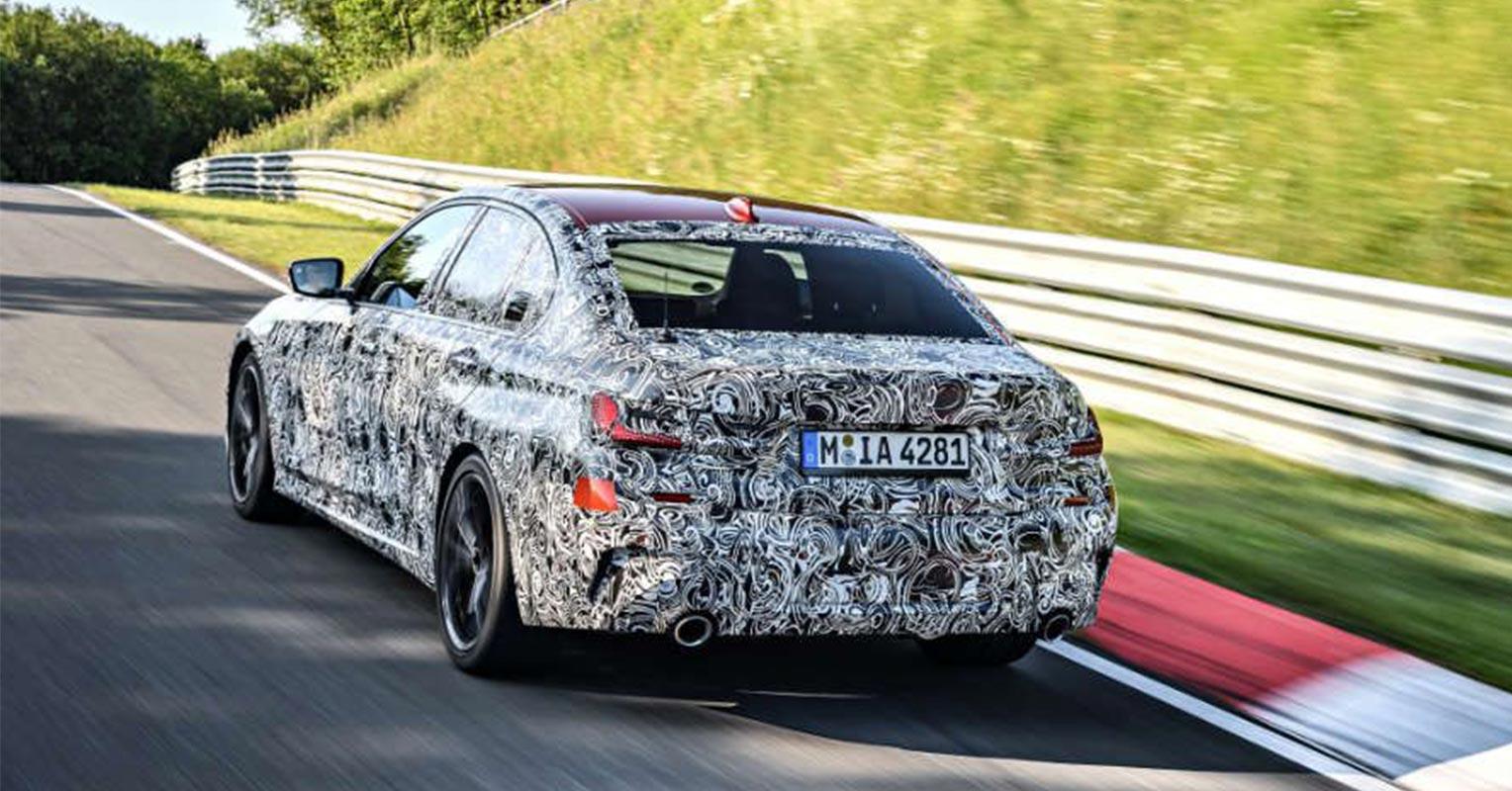 Trasera del BMW Serie 3 2019 camuflado
